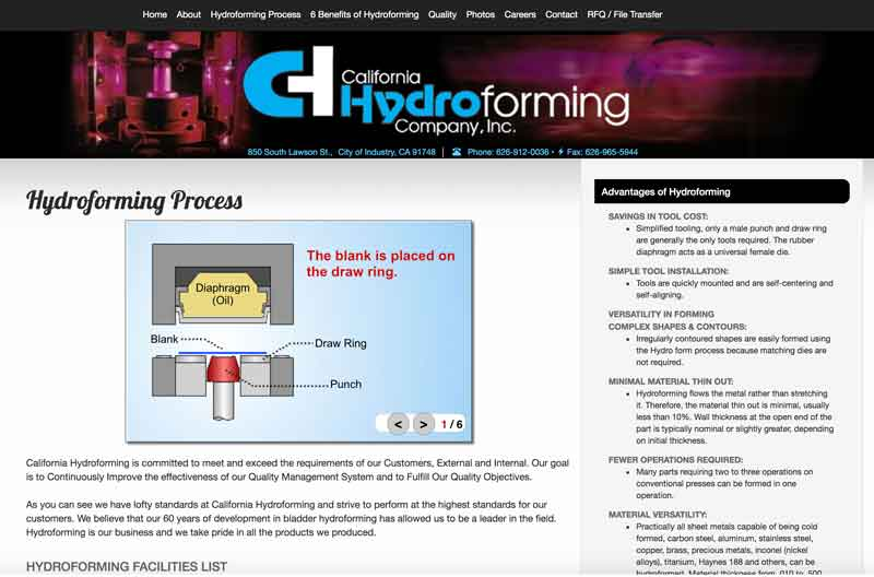 Click image to view California Hydroforming animation inclusion.